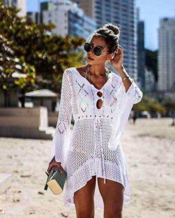 ZIYYOOHY Elegant Crochet Stricken Bikini Cover Up Boho Strandponcho Strandkleid (One Size, Weiß) - 2