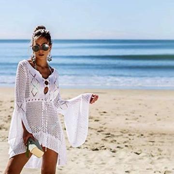 ZIYYOOHY Elegant Crochet Stricken Bikini Cover Up Boho Strandponcho Strandkleid (One Size, Weiß) - 3