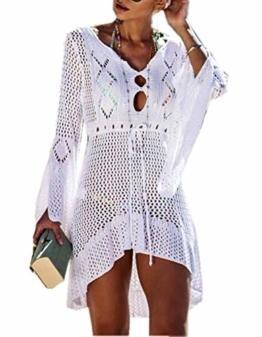 ZIYYOOHY Elegant Crochet Stricken Bikini Cover Up Boho Strandponcho Strandkleid (One Size, Weiß) - 1
