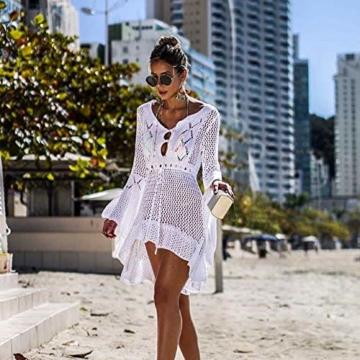 ZIYYOOHY Elegant Crochet Stricken Bikini Cover Up Boho Strandponcho Strandkleid (One Size, Weiß) - 4