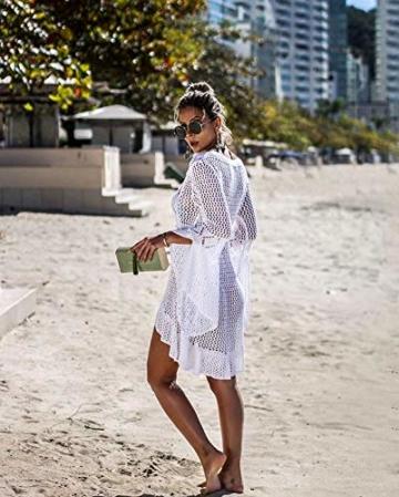 ZIYYOOHY Elegant Crochet Stricken Bikini Cover Up Boho Strandponcho Strandkleid (One Size, Weiß) - 5