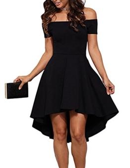 ZJCTUO Damen Kleid Abendkleid Schulterfreies Cocktailkleid Jerseykleid Skaterkleid Knielang Elegant Festlich Asymmetrisches Partykleid - 1