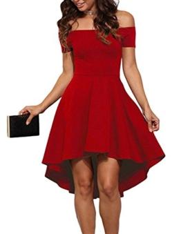 ZJCTUO Damen Schulterfreies Kleid Elegant Skaterkleid Kurz Cocktailkleid Asymmetrisch Abenkleid Festlich Partykleid (42, Rot) - 1